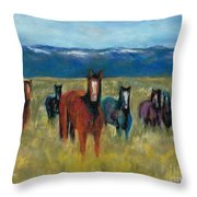 Mustangs In Southern Colorado Throw Pillow