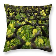 Mustard In The Vineyard Throw Pillow