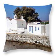Mykonos Church Throw Pillow