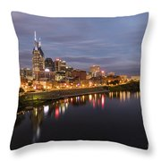 Nashville Tennessee Skyline Sunrise  Throw Pillow