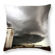 Nasty Looking Cumulonimbus Cloud Behind Grain Elevator Throw Pillow
