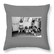 Native American Extras Dressed As Apache Warriors The High Chaparral Set Old Tucson Arizona 1969 Throw Pillow