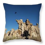 Natural Rock Formation And Wild Birds At Mono Lake, Eastern Sier Throw Pillow