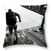 Navy Seals Jump From The Ramp Of A C-17 Throw Pillow