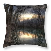 Neath The Willows By The Stream Throw Pillow