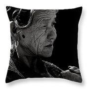 Nepali Elder At Bodhnath Stupa Throw Pillow