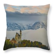 Neuschwanstein Castle Landscape Throw Pillow