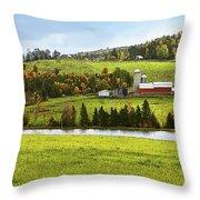 New England Farm Throw Pillow by Betty LaRue