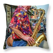 New Orleans Jazz Sax Throw Pillow