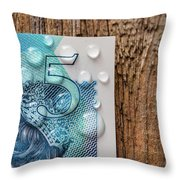 New Uk Five Pound Note Throw Pillow