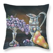 Fruit N Silver Throw Pillow