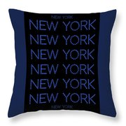New York - Blue On Black Background Throw Pillow