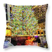 New York City Christmas Tree Throw Pillow