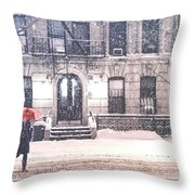 New York City Snow Throw Pillow by Vivienne Gucwa