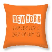 New York Coordinates Throw Pillow