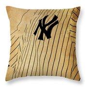 New York Yankees Baseball Team Vintage Card Throw Pillow