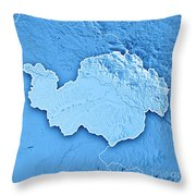 Niederbayern Regierungsbezirk Bayern 3d Render Topographic Map B Throw Pillow