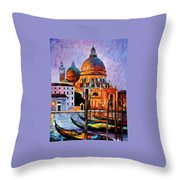 Night Venice Throw Pillow
