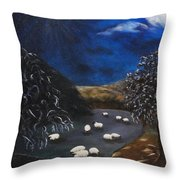 Night Watch In The Highlands Throw Pillow