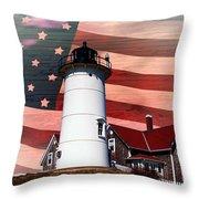 Nobska Lighthouse On American Flag Throw Pillow