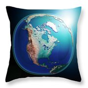 North America 3d Render Planet Earth Dark Space Throw Pillow