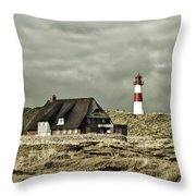North Sea Lighthouse - Germany Throw Pillow