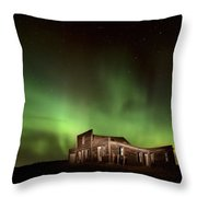 Northern Lights Canada Abandoned Building Throw Pillow