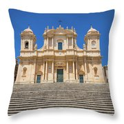 Noto, Sicily, Italy - San Nicolo Cathedral, Unesco Heritage Site Throw Pillow
