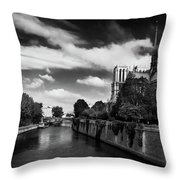 Notre Dame Cathedral And The River Seine - Paris Throw Pillow