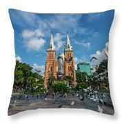 Notre-dame Cathedral Basilica Of Saigon, Officially Cathedral Basilica Of Our Lady Of The Immaculate Throw Pillow