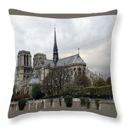 Notre Dame Cathedral In Paris, France Throw Pillow