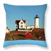 Nubble Light House Throw Pillow