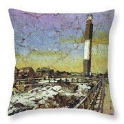 Oak Island Lighthouse Throw Pillow