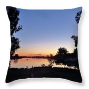 Obear Park And The Danvers River At Sunset Throw Pillow