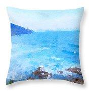 Ocean Coastline Watercolor Throw Pillow
