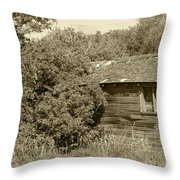 Old Abandoned Barn Falling To Ruin Throw Pillow