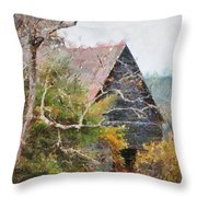 Old Barn At Cades Cove Throw Pillow
