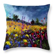 Old Chapel And Flowers Throw Pillow