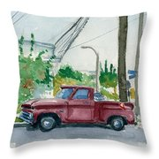 Old Chevy On Wallnut Throw Pillow