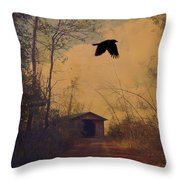 Lone Crow Flies Over The Old Country Road  Throw Pillow
