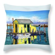 Old Crab Yellow Shacks Of Tangier Island Throw Pillow
