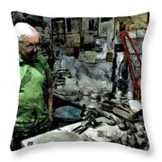 Old Craftsman Portrait In The Laboratory Throw Pillow
