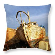 Old Dilapidated Wooden Boat  Throw Pillow