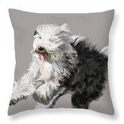 Old English Sheepdog - Coming Through Throw Pillow