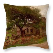 Old Farm House In The Catskills Throw Pillow