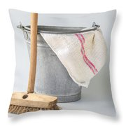 Old Fashioned Housekeeping With Zinc Bucket Throw Pillow