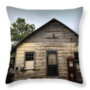 Old Filling Station Throw Pillow