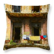 Old Havana Building Throw Pillow
