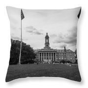 Old Main Penn State Black And White  Throw Pillow
