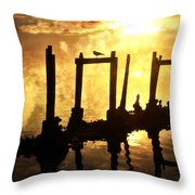 Old Pier At Sunset Throw Pillow